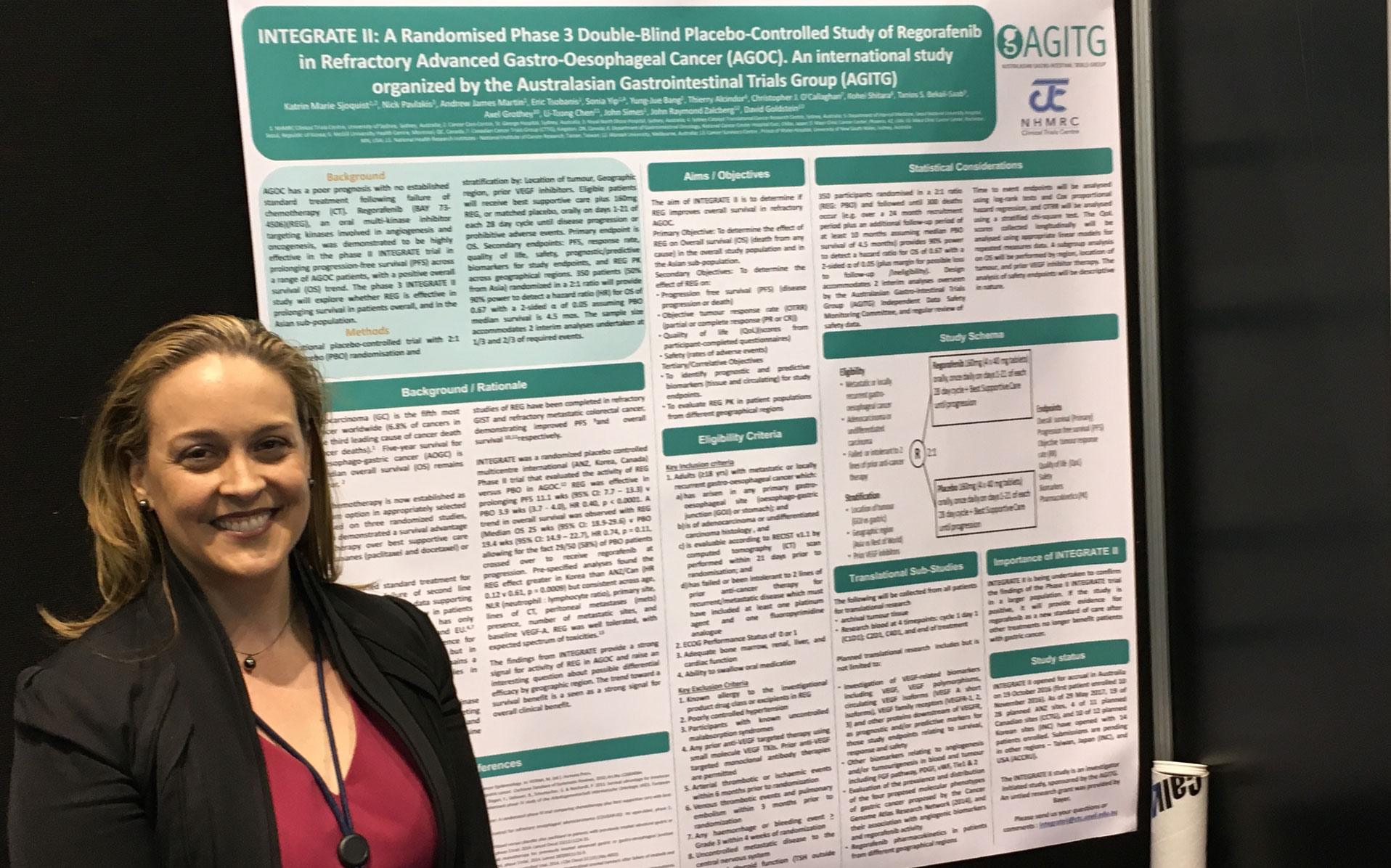 Dr Katrin Sjoquist AGO315OG GA3 poster regorafenib in refractory advanced gastro-oesophageal cancer - #CCTG proud Canadian partner #ASCO17